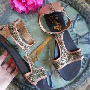 Seychelles Gold Brown Beaded Sandals